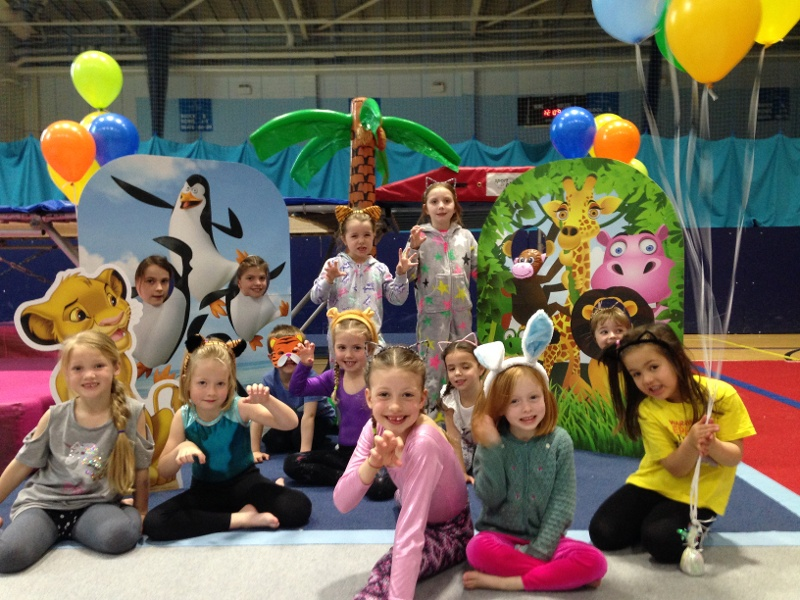 Children with animal themed props at their gymnastics club