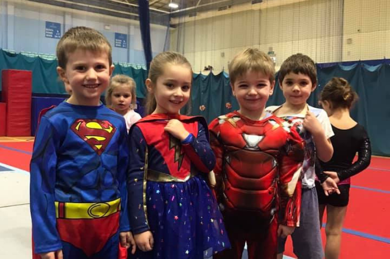 Children dressed as Superheroes at their gymnastics club