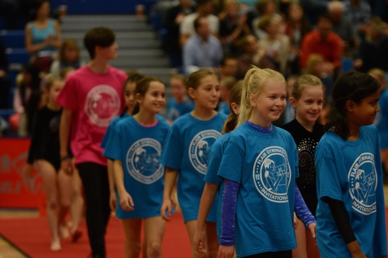 Children marching in at The Flair Championships gymnastics competition