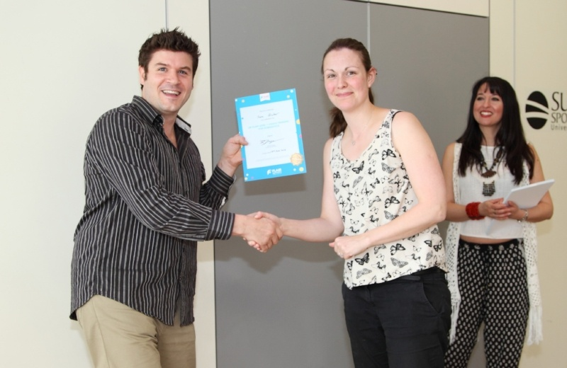 Gymnastics coach Sam receives a qualification at the Flair University